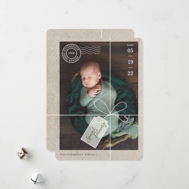 Special Delivery Parcel Baby Birth Stats & Photo Holiday Card