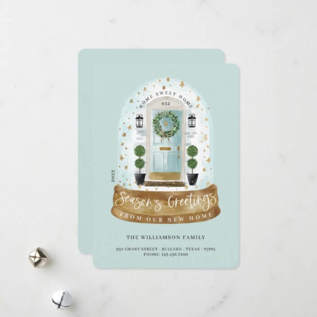 Watercolor Aqua Door Snow Globe New Home Photo Moving Announcement Holiday Card