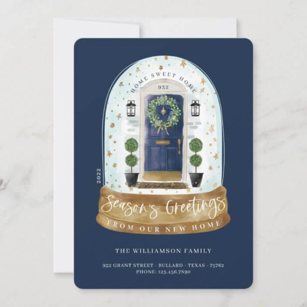 Watercolor Blue Door Snow Globe New Home Photo Moving Announcement Holiday Card
