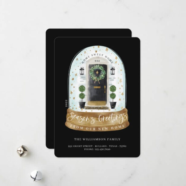 Watercolor Black Door Snow Globe New Home Photo Moving Announcement Holiday Card