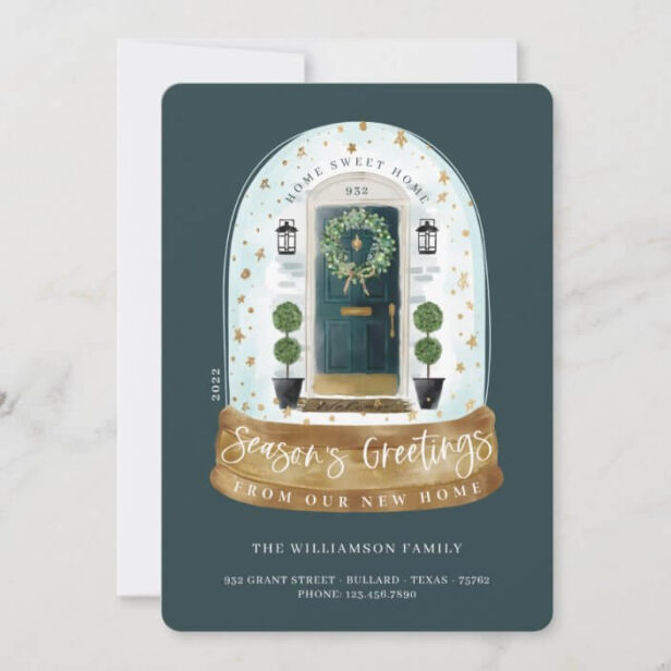 Watercolor Green Door Snow Globe New Home Photo Moving Announcement Holiday Card