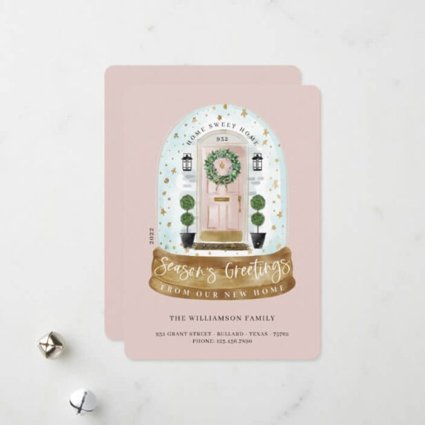 Watercolor Pink Door Snow Globe New Home Photo Moving Announcement Holiday Card
