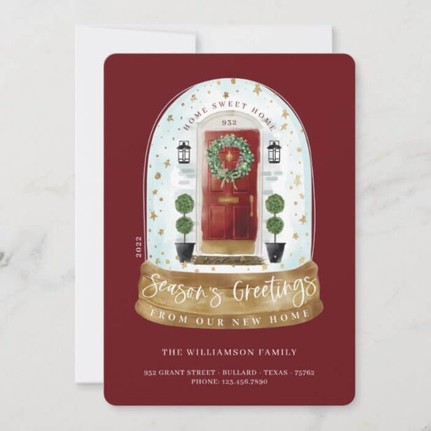 Watercolor Red Door Snow Globe New Home Photo Moving Announcement Holiday Card
