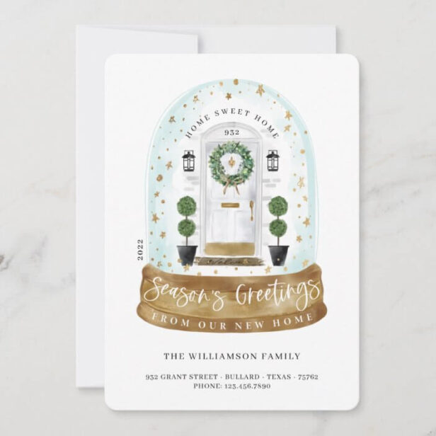 Watercolor White Door Snow Globe New Home Photo New Home Moving Announcement Holiday Card