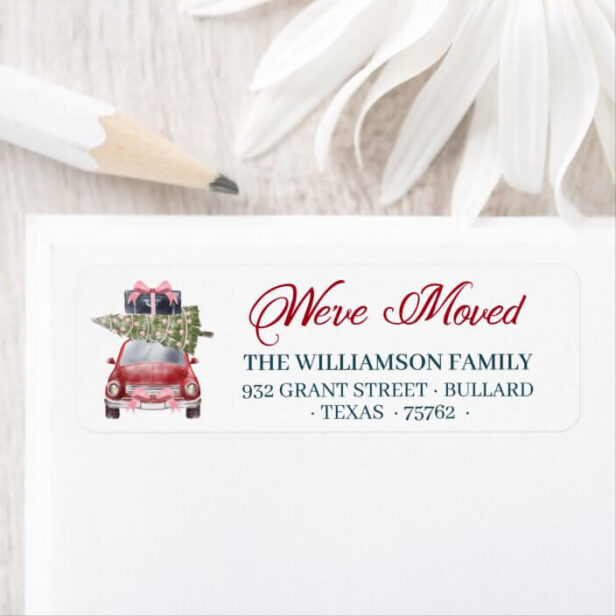 We've Moved Red Retro Car Christmas Tree Luggage Label