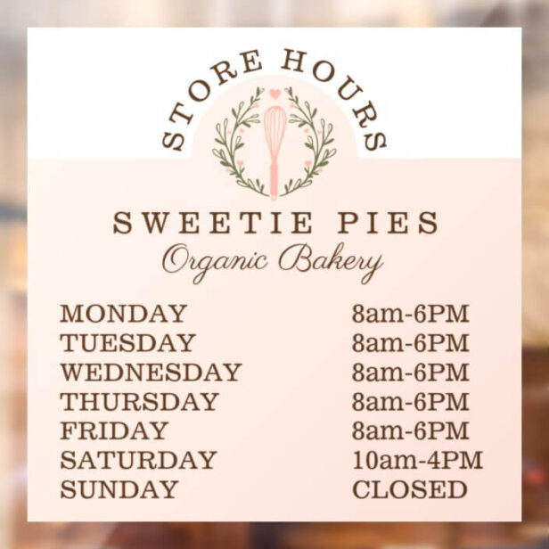Bakery Business Whisk & Wreath Logo Store Hours Window Cling