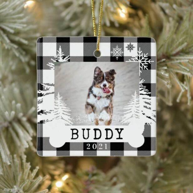 Black Plaid Rustic Pine Trees Dog Bone Pet Photo Ceramic Ornament
