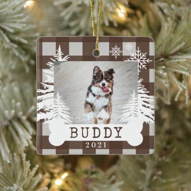 Brown Plaid Rustic Pine Trees Dog Bone Pet Photo Ceramic Ornament