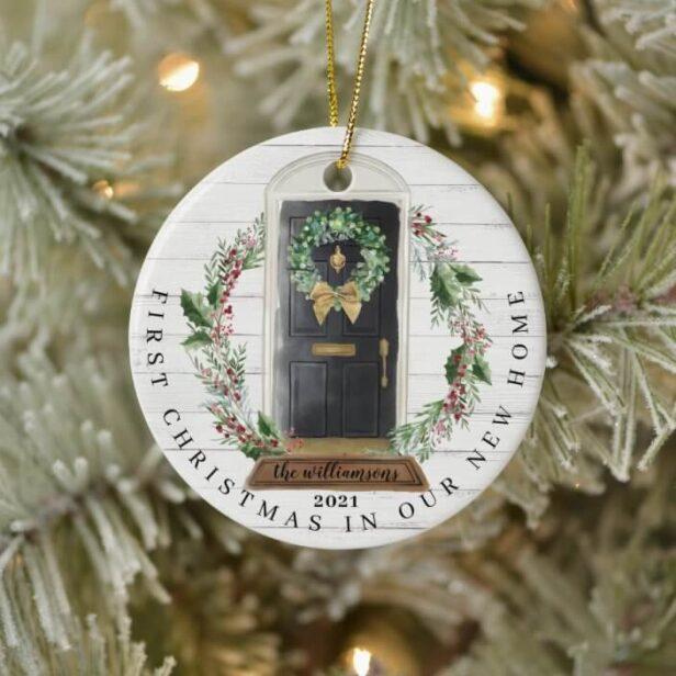 Christmas New Home Black Watercolor Door Photo Ceramic Ornament