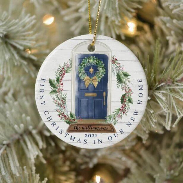 Christmas New Home Navy Blue Watercolor Door Photo Ceramic Ornament