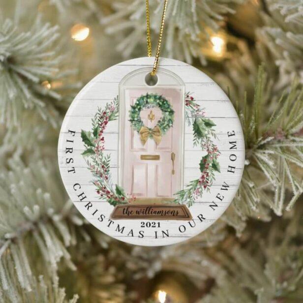 Christmas New Home Pink Watercolor Door Photo Ceramic Ornament
