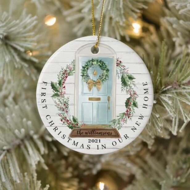 Christmas New Home Teal Blue Watercolor Door Photo Ceramic Ornament