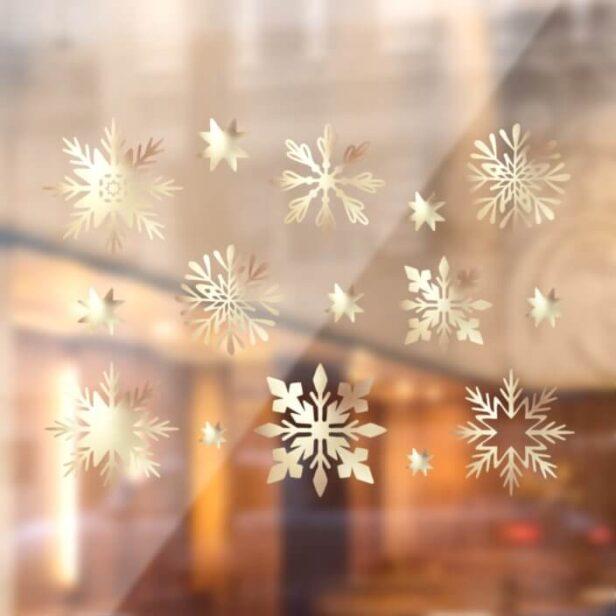Elegant Faux Gold Shimming Snowflake Pattern Window Cling