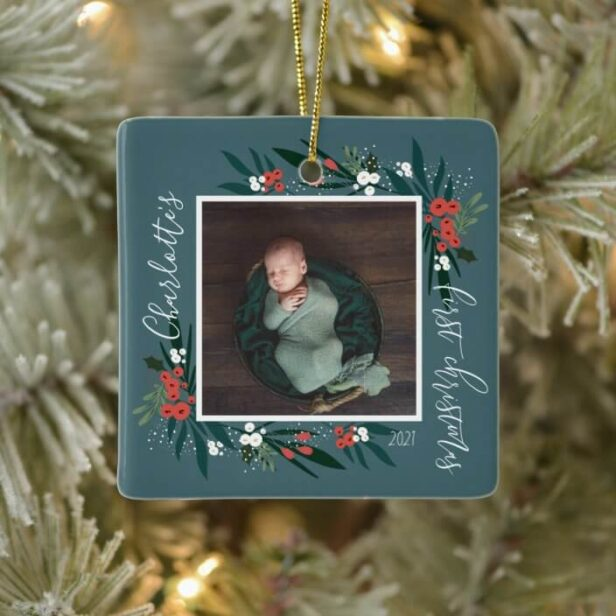 First Christmas Cranberry & Foliage Baby Photo Ceramic Ornament