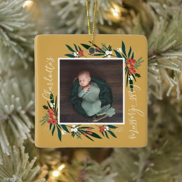 First Christmas Cranberry & Foliage Baby Photo Golden Yellow Ceramic Ornament