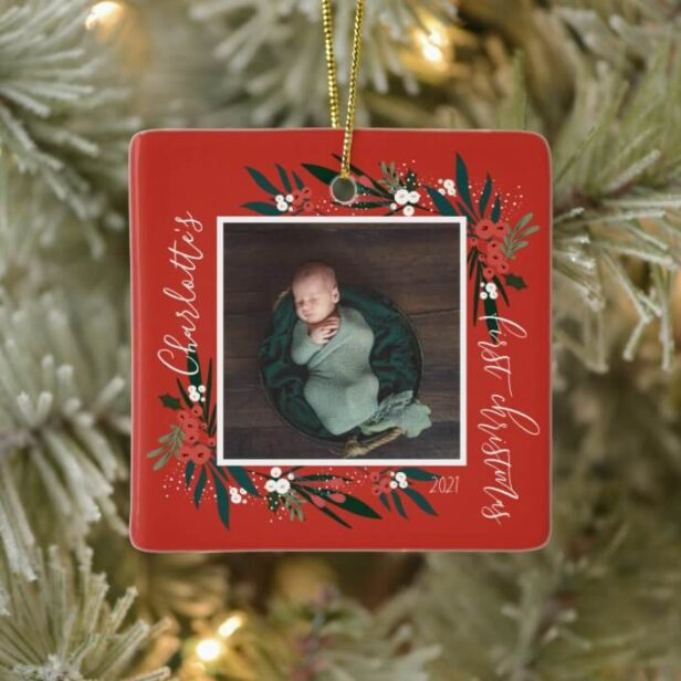 First Christmas Cranberry & Foliage Baby Photo Red Ceramic Ornament