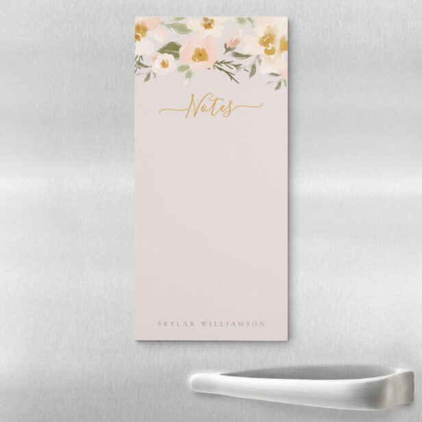 Gardenia Blush Watercolor Abstract Floral Notes Magnetic Notepad