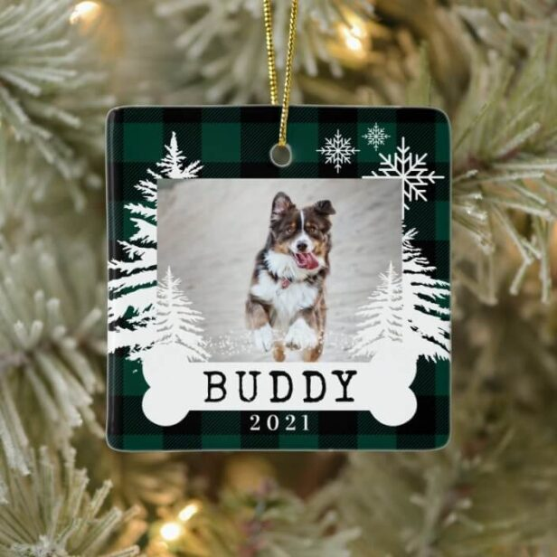 Green Plaid Rustic Pine Trees Dog Bone Pet Photo Ceramic Ornament