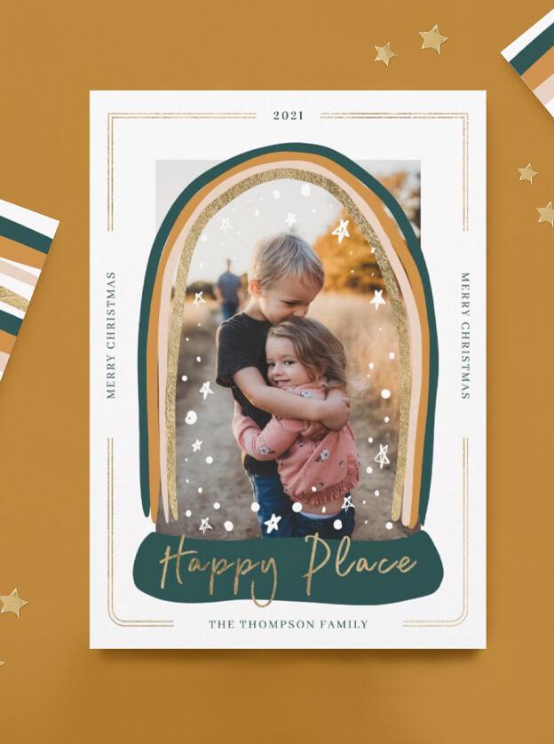 Happy Place Modern Snow Globe Christmas By Moodthology Papery