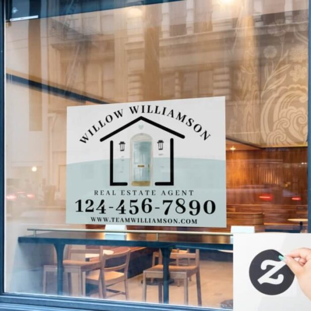 Real Estate Agent House & Aqua Watercolor Door Window Cling