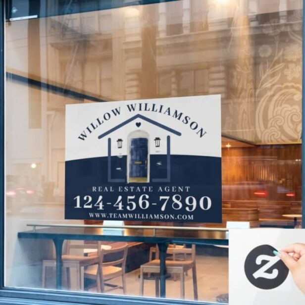 Real Estate Agent House & Navy Watercolor Door Window Cling