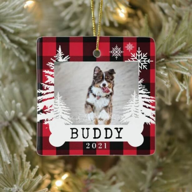 Red Plaid Rustic Pine Trees Dog Bone Pet Photo Ceramic Ornament