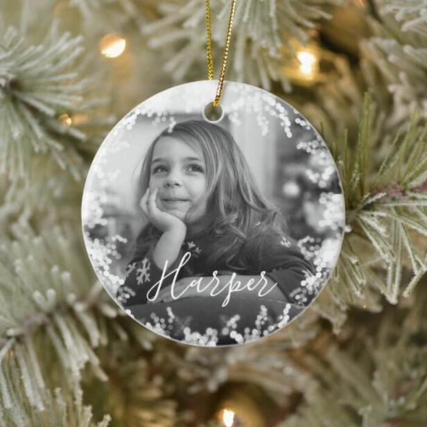 Snow Frame Minimal Black & White Photo Custom Name Ceramic Ornament