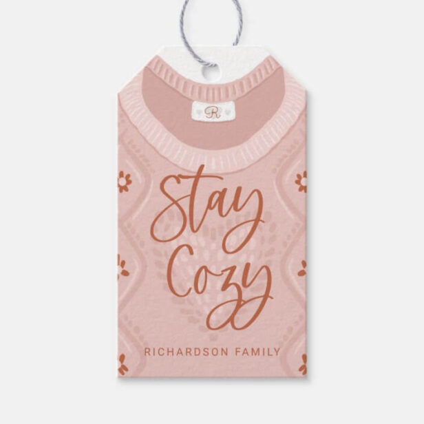 Stay Cozy Pink Winter Sweater Monogram Family Gift Tags