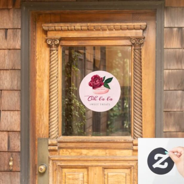 Watercolor Floral Red Rose Macaron Bakery & Sweets Window Cling