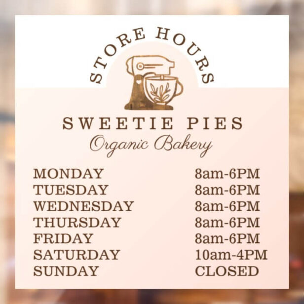 Woodgrain Bakery Stand Mixer Store Hours Window Cling